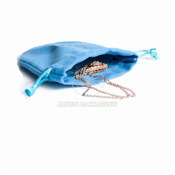 Custom drawstring velvet pouch jewelry packaging bag with logo