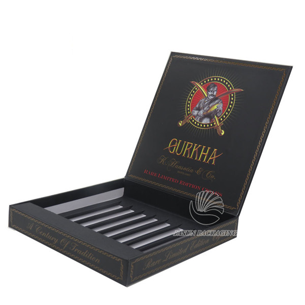 Handmade hinged black cardboard cigar packaging box