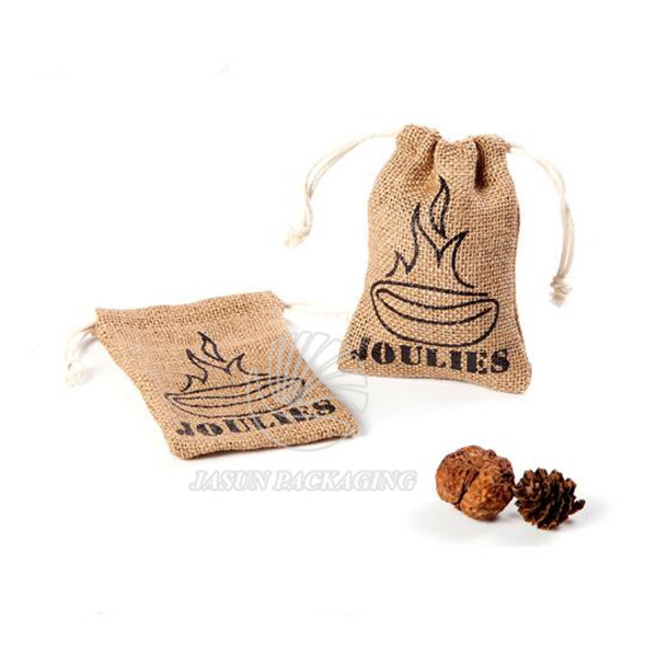 Wholesale Small Jute sack Drawstring Pouch storage packaging bags