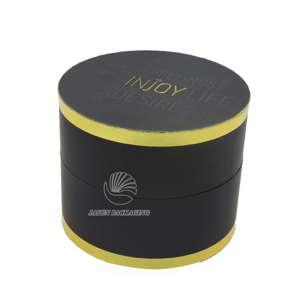 Luxury foil edge sides black soft touch round box
