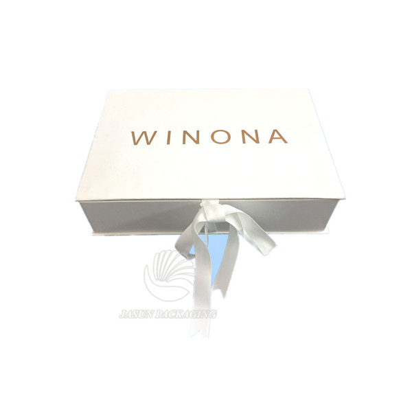 Ribbon Sealed Rigid Cardboard Embossed Logo White