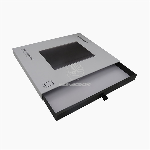 Rigid Grey Tablet PC Packaging Box With clear window title=