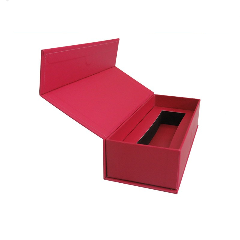 Square shape red rigid paper gift clamshell