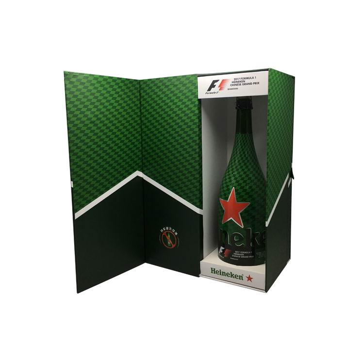 Custom Green Gift Paper Folding Single Bottle title=