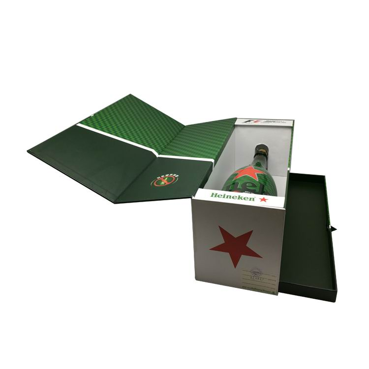 Custom Green Gift Paper Folding Single Bottle