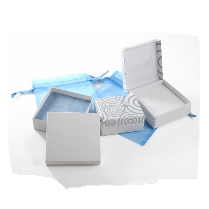 White two piece cardboard hinged Jewellery packing