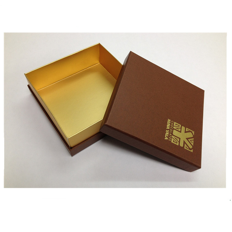 Fancy gold paper square cardboard chocolate gift