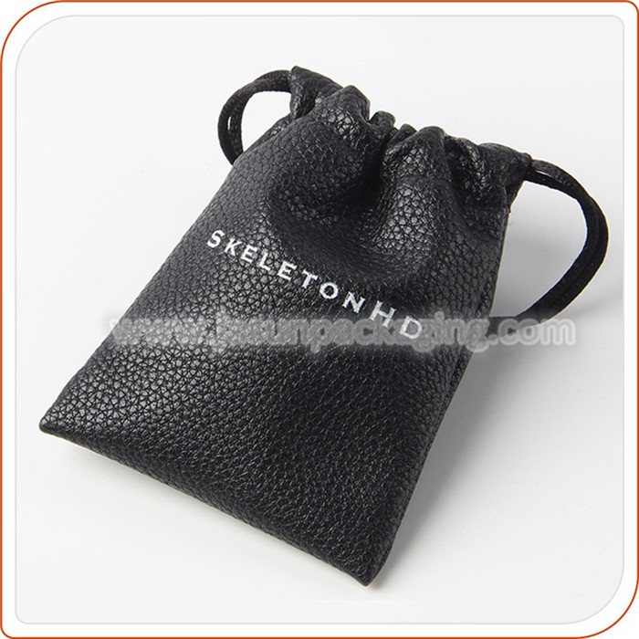 small black leather drawstring pouch bag for
